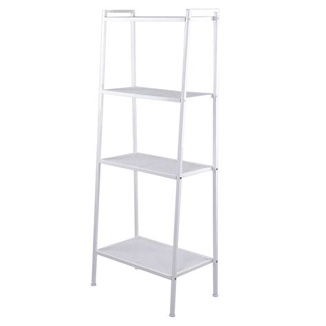4 Shelf Book Rack by 4 Tier Ladder Bookcase Metal Frame Book Shelf Storage Rack
