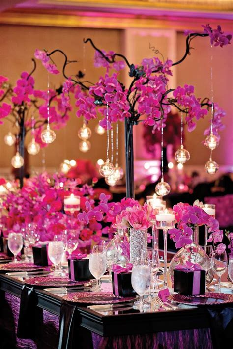 pink and black centerpieces for weddings pink wedding ideas with elegance modwedding