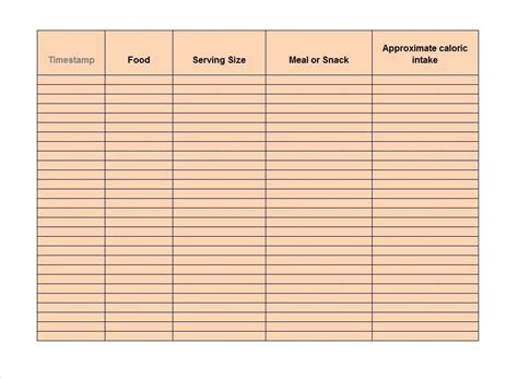 diary template docs food journal template food diary template docs