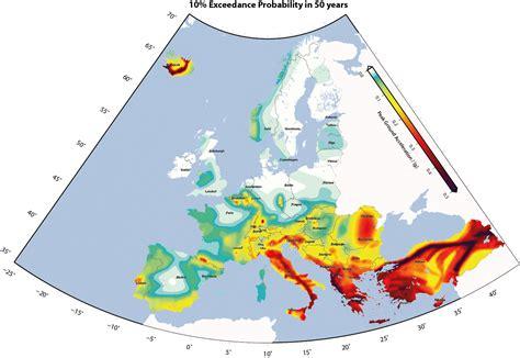 earthquake europe map earthquake hazard in europe europe