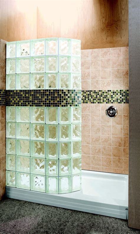 hand made walk in glass block shower with tile border by
