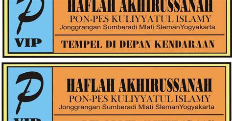 mki contoh stiker parkir tempel dalam acara haflah