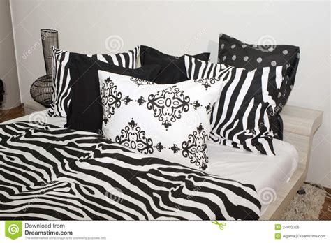 black bed pillows bedroom with black and white pillows royalty free stock