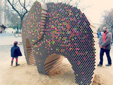 art of recycle artists create elephant out of 6 000 recycled cardboard