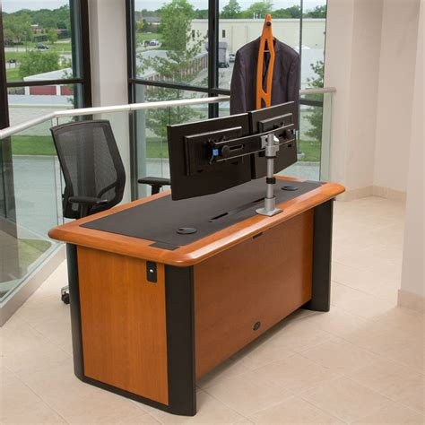 Computer Desk For Dual Monitors Switch Dual Monitor Arm Caretta Workspace