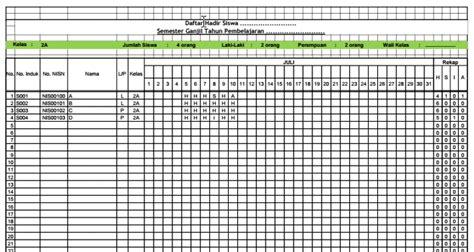 format rekap absensi aplikasi rekap absensi siswa otomatis excel berkas sekolah