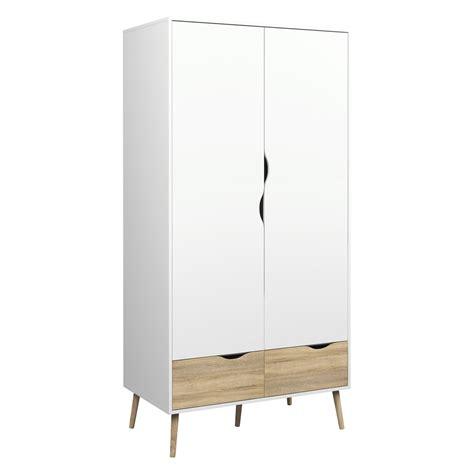 Kleiderschrank Retro by Diana 2 Drawer And 2 Door Wardrobe White Oak Structure