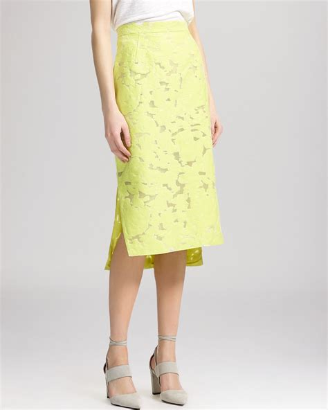 yellow pattern pencil skirt whistles leanora burnout lace pencil skirt in yellow lyst