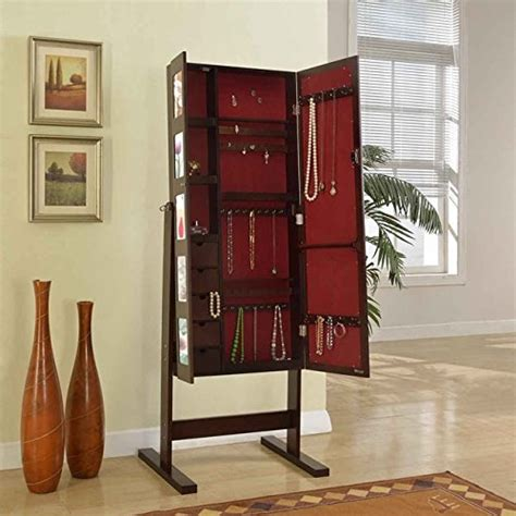 photo frame jewelry armoire brown frame free standing cheval mirror double door photo