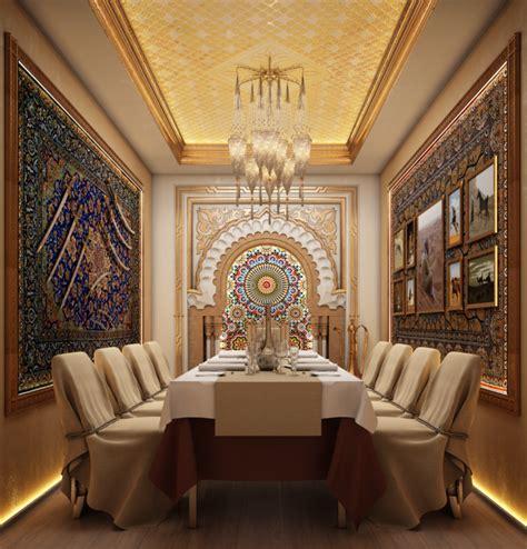 small banquet room arabic style restaurant interior