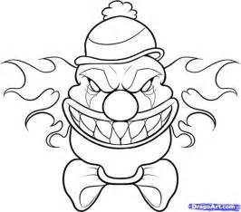 draw scary clown step step creatures monsters free tats scary clowns