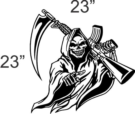 grim reaper gun teen kids boys room wall art home decor