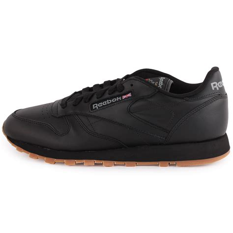 reebok shoes reebok classic leather mens leather black gum trainers new