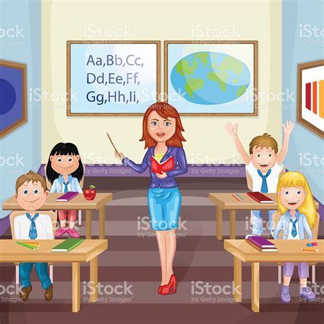imagenes niños estudiando matematicas ilustraci 243 n de ni 241 os estudiando en clase con profesor