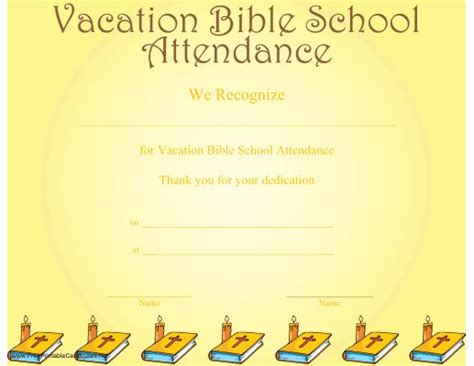 Vacation Certificate Template by A Printable Certificate Recognizing Vacation Bible School