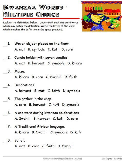 printable kwanzaa games free kwanzaa vocabulary worksheets for grades 1 3