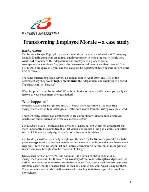 A Study On Employee Morale At Company Mba Hr by Morale Study Dartmouth Essays Mba