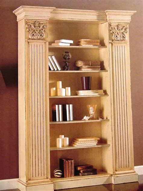 luxury bookshelves lacquered bookcase with capitals for classic living room idfdesign