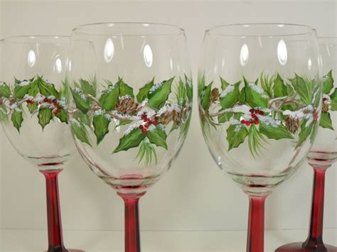 designer barware snow covered christmas holiday wine glasses holly berries hand painted set of 4