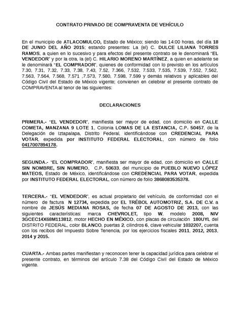 modelo privado contrato compraventa coches motos contrato privado de compraventa de veh 205 culo docsity