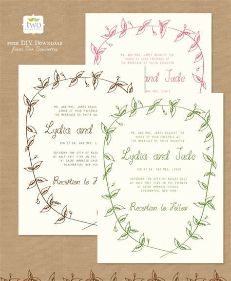 Printable Wedding Stationery | 10 free printable wedding invitations diy wedding