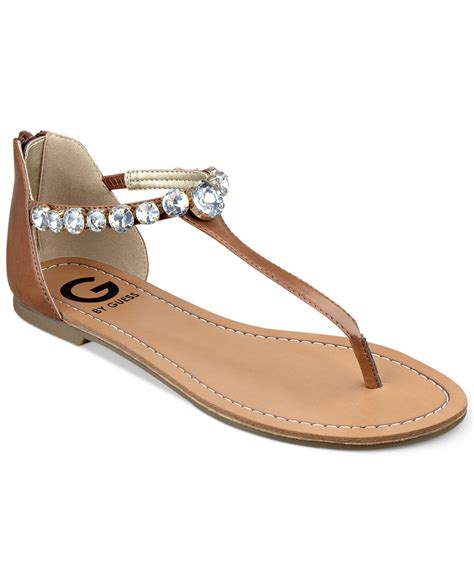 sandals guess g by guess s lippy flat sandals in brown lyst