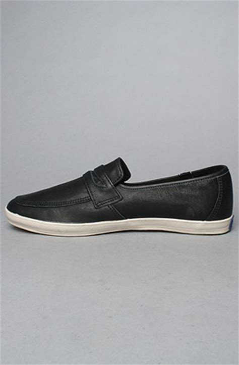 keds loafers keds the chion leather loafer in black in black for