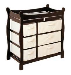 Badger Basket Baby Changing Table With Six Baskets Espresso Sleigh Changing Table With Six Baskets Baby Center