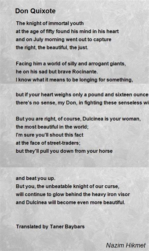 the beautiful poetry of donald canons books don quixote poem by nazim hikmet poem