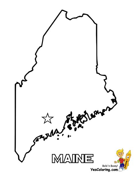 free coloring pages of maine state map