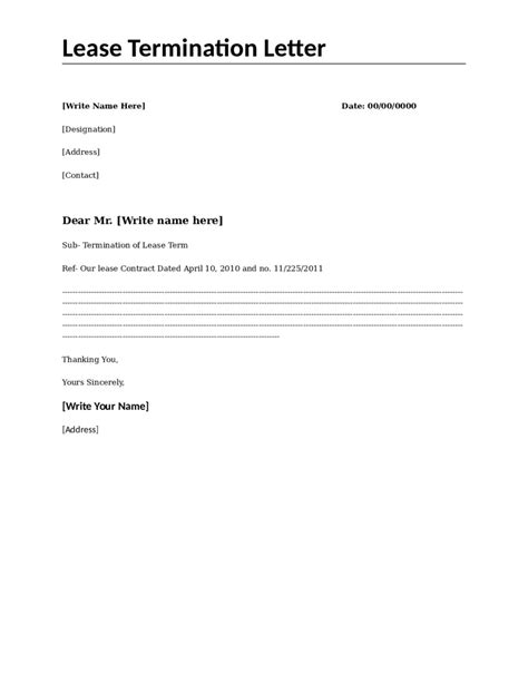 Sle Letter To Terminate Lease Agreement by Lease Termination Letter Template Free 28 Images 12 Rental Termination Letter Templates Free