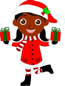 christmas gifts clipart image ethnic child a girl