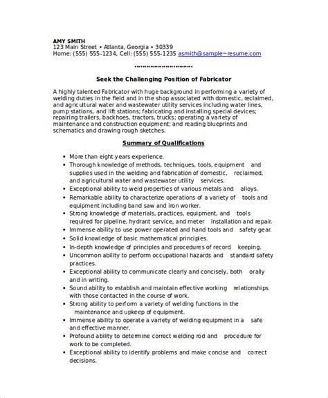 Welders Resume by Welder Resume Template 6 Free Word Pdf Documents