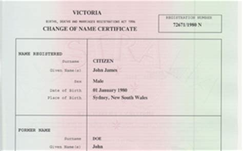 Nsw Divorce Records Family History Name Change Certificate