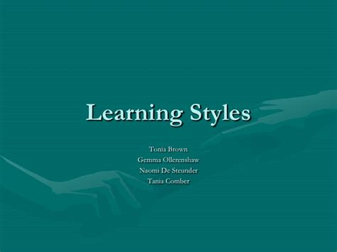 Group 3 Learning Styles Ppt Presentation Styles Ppt