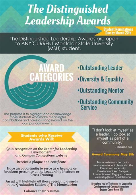 Montclair Mba Schedule Of Classes by Distinguished Student Leadership Award Nomination