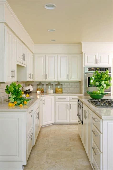 white kitchen cabinets tile floor travertine tiles design ideas