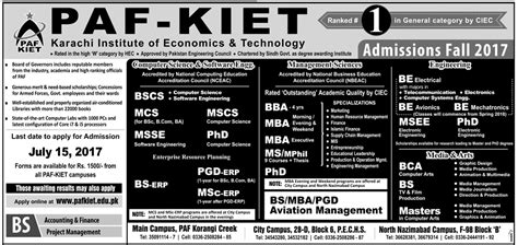 Paf Kiet Mba Fee Structure 2017 by Paf Kiet Admissions 2017 Karachi Institute Of Economics