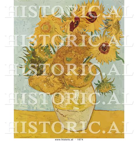 Vincent Gogh Vase With Twelve Sunflowers by Historical Vector Illustration Of A Vase With 12