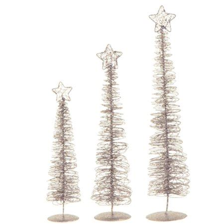 walmart spiral christmas tree set of 3 winter light silver glittered spiral tree lighted table top decorations 24