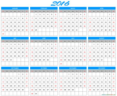 printable calendar year to view 2016 2016 yearly calendar template archives free printable