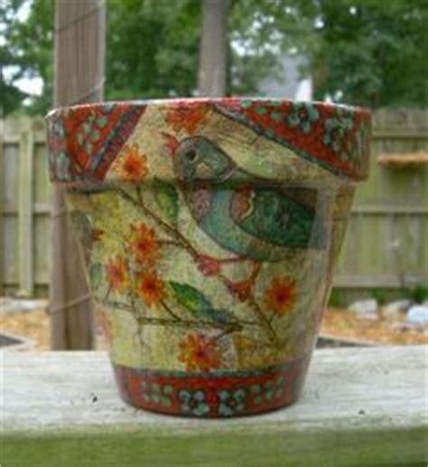 decoupage clay pots ideas handmade decoupage terra cotta clay flower pot 6