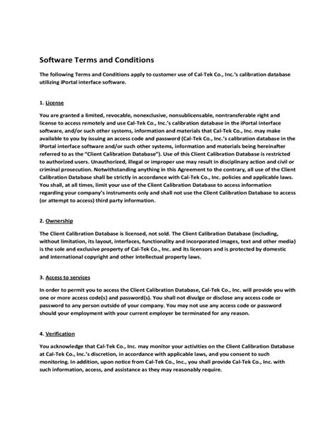 software terms and conditions template software terms and conditions template free