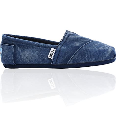 toms shoes on sale on sale toms classics canvas navy stonewash slip on womens