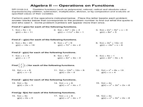 Function Operations Worksheet Answers by Worksheet Function Notation Worksheet Caytailoc Free