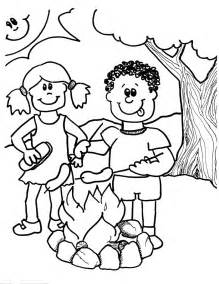 Campfire Coloring Page sketch template