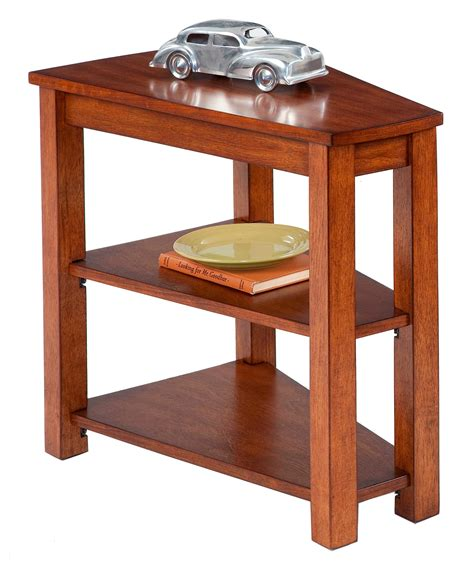 Wedge Side Table With Drawer by Engraving Wedge Shaped End Table With Shelf And Drawer