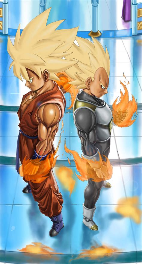 goku and vegeta ssj in whis uniform by novasayajingoku on