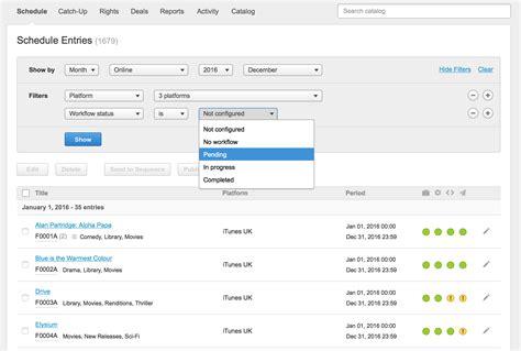 workflow status bebanjo release notes schedule page filter by workflow