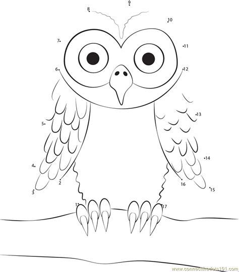 owl dot to dot printable owl sitting on tree branch dot to dot printable worksheet